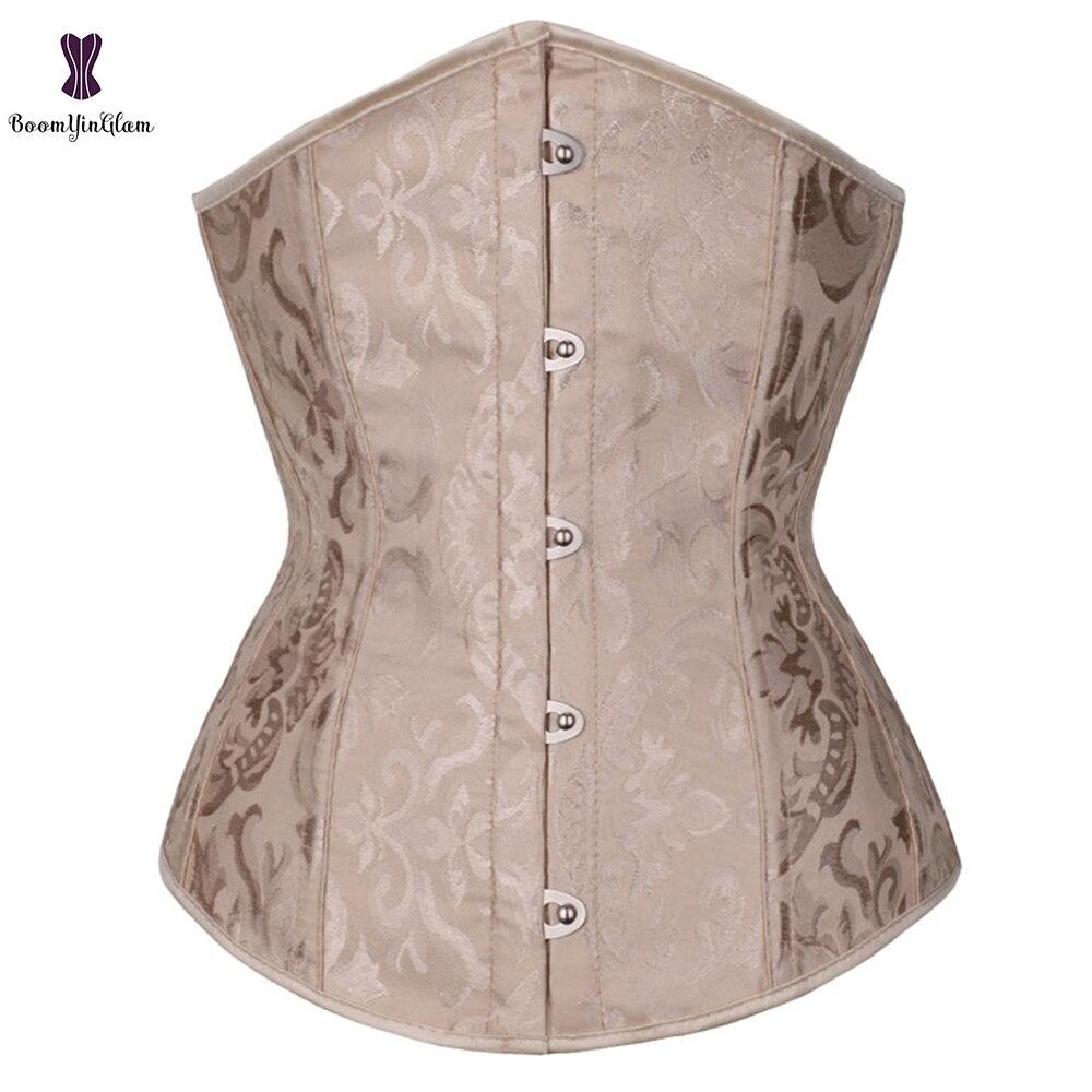 Wholesale Dropshipping Corset Underbust Waisttrainer Gothic Boned Chest Binder Gorset Sexy Femme Floral Plus Size Korsett Women