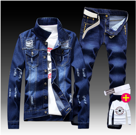 New Men's Denim Jacket Pants 2pcs Set Single Breasted Holes Casual Coat Trousers Slim Fit Cool Boys Jackets A55