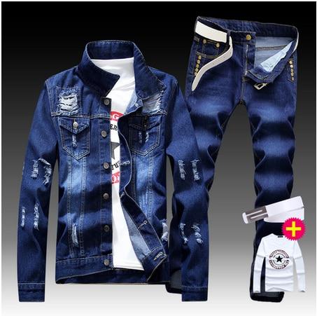 New Men's Denim Jacket Pants 2pcs Set Single Breasted Holes Casual Coat Trousers Slim Fit Cool Boys Jackets A55