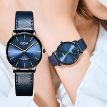 DOM montre Ultra fine pour femmes, marque de luxe, étanche, couleur bleue, acier inoxydable, Quartz, collection G 36BL 1MT
