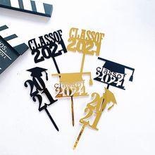 Adorno acrílico para pastel con letras doradas, decoración para magdalenas, graduación, graduación, nueva clase de 2021