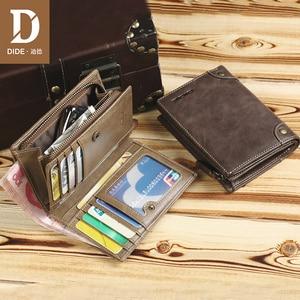 Image 4 - DIDE marka inek derisi erkek cüzdan erkek çanta kısa hakiki deri fermuar bozuk para cüzdanı cüzdan kart tutucu güzel hediye kutusu