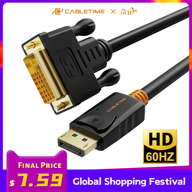 CABLETIME 2020 New Display Port to DVI Cable M/M DisplayPort DP to DVI Connection Adapter 1080P 3D for PC Projector HDTV  C074