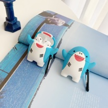 Case for Airpods Earphone 3D cute shark Soft Silicone Cover bluetooth wireless Earpods Protective
