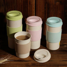 2019 New Wheat Straw Mug Coffee Cup with Lid Home Portable Outdoor Water Bottle Travel Mugs wheat straw double cup creative portable hand cup environmental protection cup with lid student cup tea coffee water