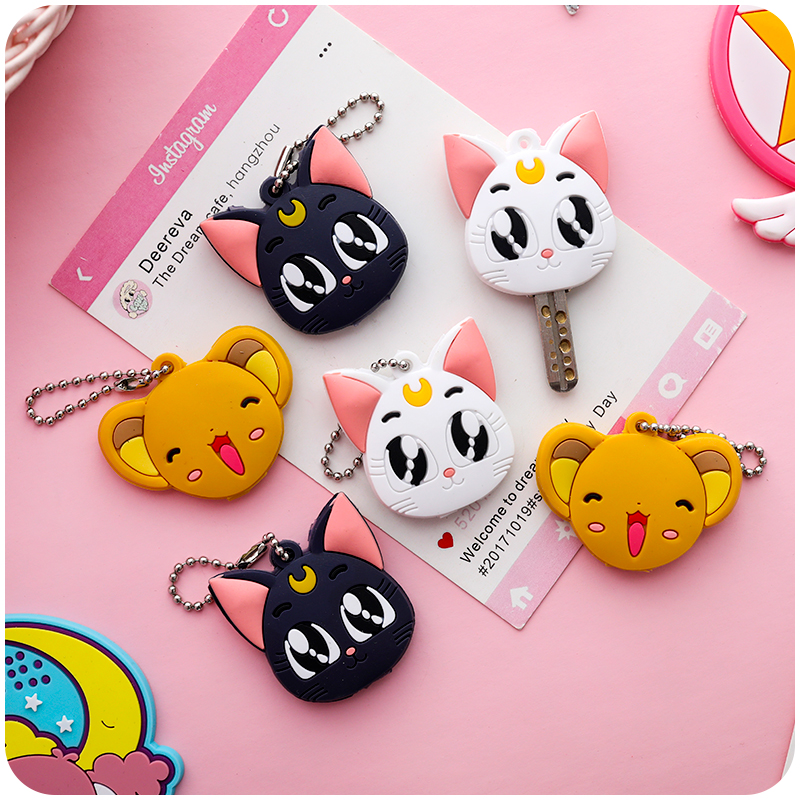 Sailor Moon Keychain Luna Purple Cat Cosplay Props Girls Key Accessories Card Captor Sakura Keyring