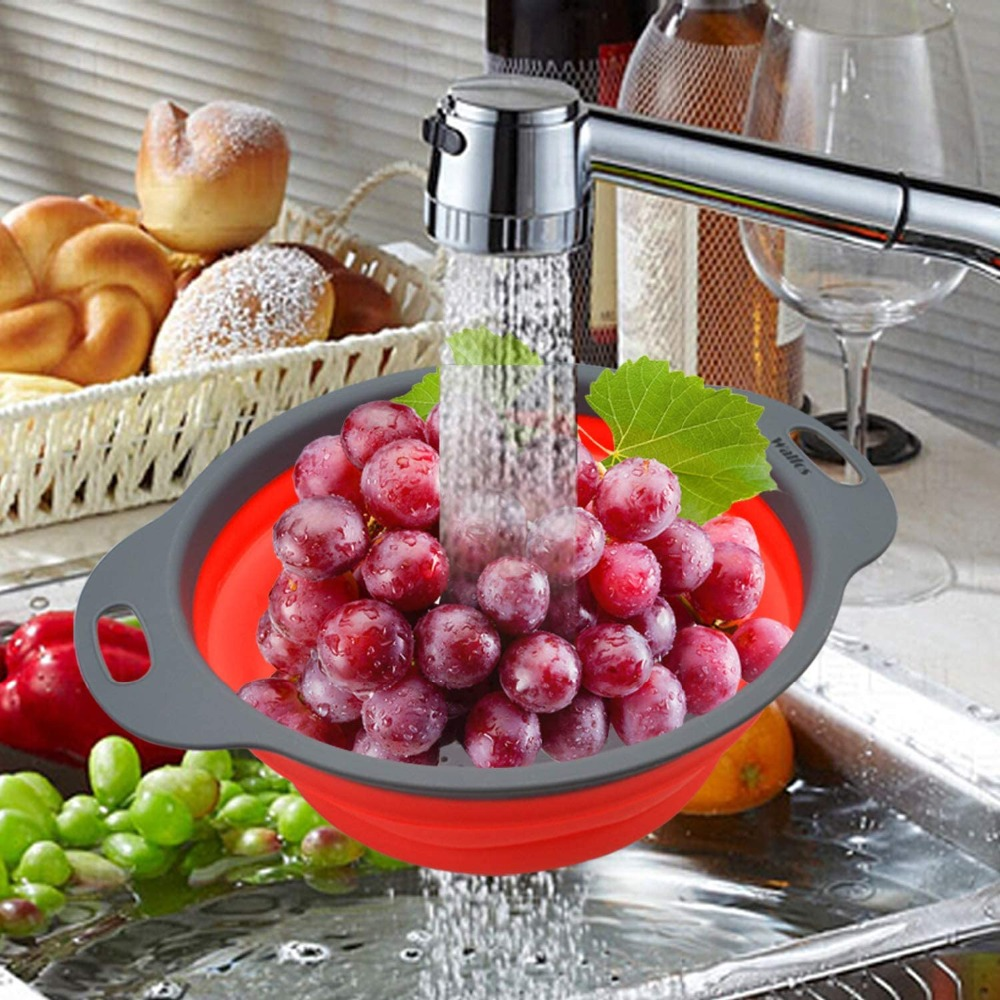 Food Grade Silicone Colanders Strainers Set of 2 1