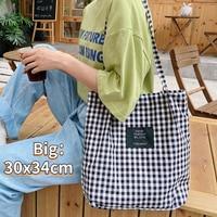 Bolso de compras de lona a cuadros Vintage para mujer, bolsa de mano femenina de tela con correa fina, bolso de viaje informal, grande