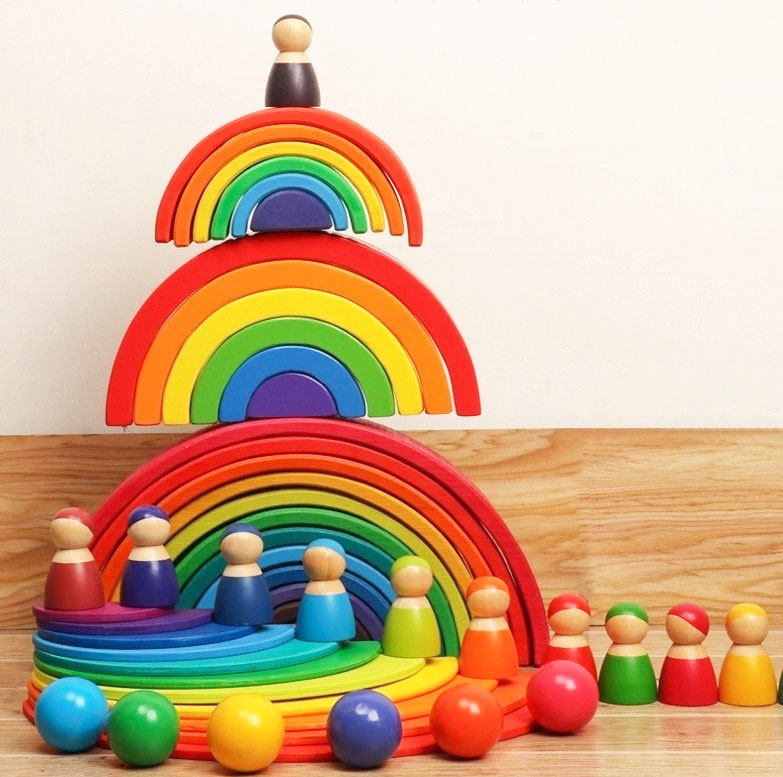 Children Wooden Rainbow Blocks  Wooden Balls Dolls Rainbow Building Stacking Blocks Montessori Color Sort Educational Toy