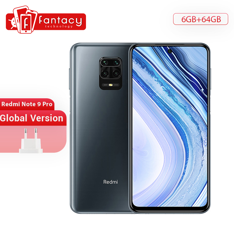 In Stock Global Version Xiaomi Redmi Note 9 Pro 6GB 64GB Snapdragon 720G 64MP Quad Camera Smartphone Note 9 Pro 5020mAh 30W QC