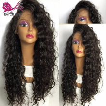 EAYON HAIR Glueless Full Lace Human Hair Wigs Loose Curly Remy Wigs For Black Women With Baby Hair 150% Density Brazilian цена 2017