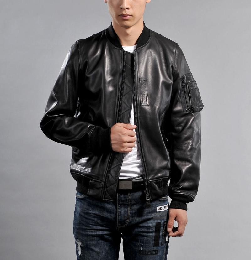 Free Shipping.Brand New Classic MA1 Jacket.100% Thick Sheepskin Coat,japan Style Genuine Leather Jackets.high Quality Sales