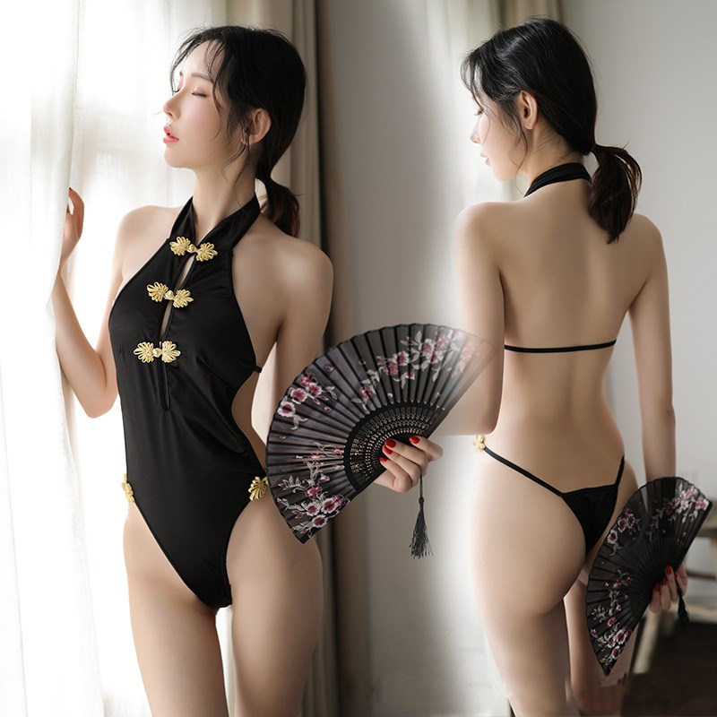 Bodysuits Qi Pao Lingerie Sexy Hot Erotic Underwear Women Velour Qipao Backless Babydoll lenceria exotic apparel cute lingerie