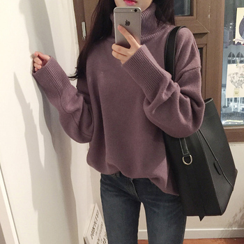 Winter turtleneck sweater ladies Korean version of long-sleeved sweater retro warm thickened turtleneck solid color sweater turtleneck husky turtleneck
