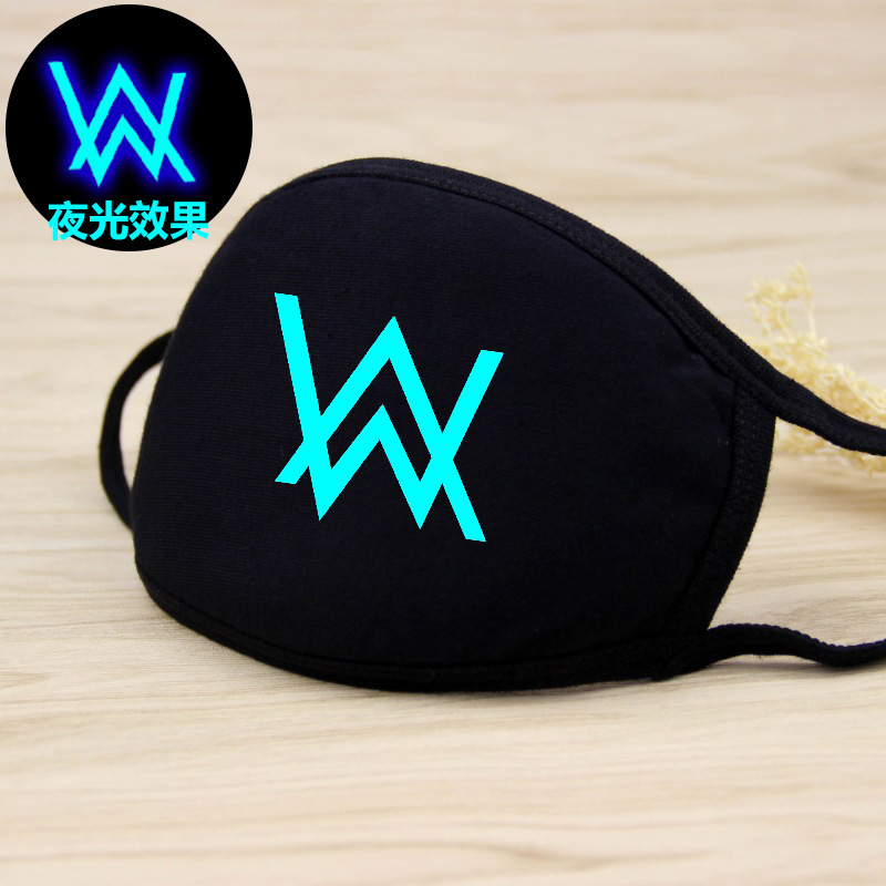 Walker Mouth-muffle Men Women Breathable Mouth Mask Alan Cotton Face Masks Dust Masks Luminous