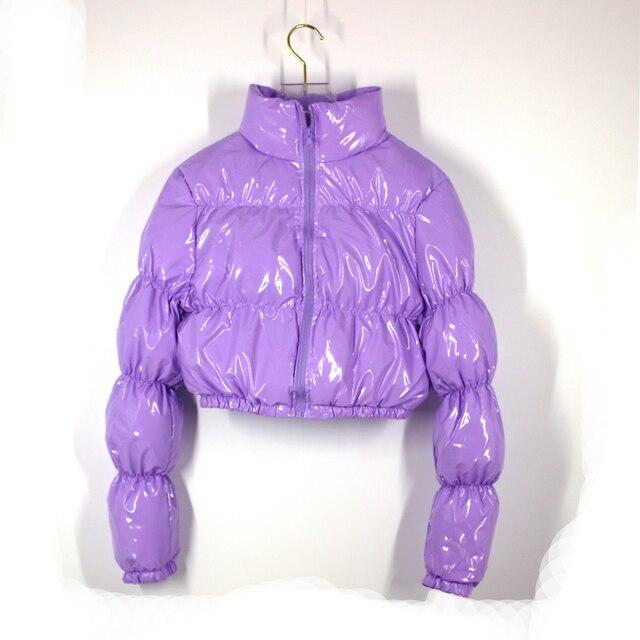 AtxyxtA Parka court pour femmes, veste bouffante, manteau à bulles court vêtements d'hiver à la mode, noir rouge violet rose vert bleu argent XXL 2