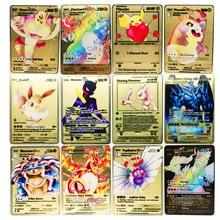 Pokemon 27 Styles New Mewtwo GX MEGA Gold Metal Card collezione Super Game carte Anime giocattoli per bambini regalo di natale