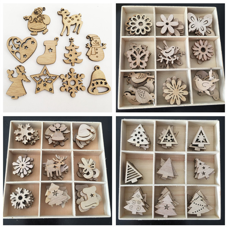 50pcs Natural Wood Chip Ornaments Christmas Decorations For Home Christmas Tree/Reindeer/Snowflake Mixed Shape Wooden Crafts
