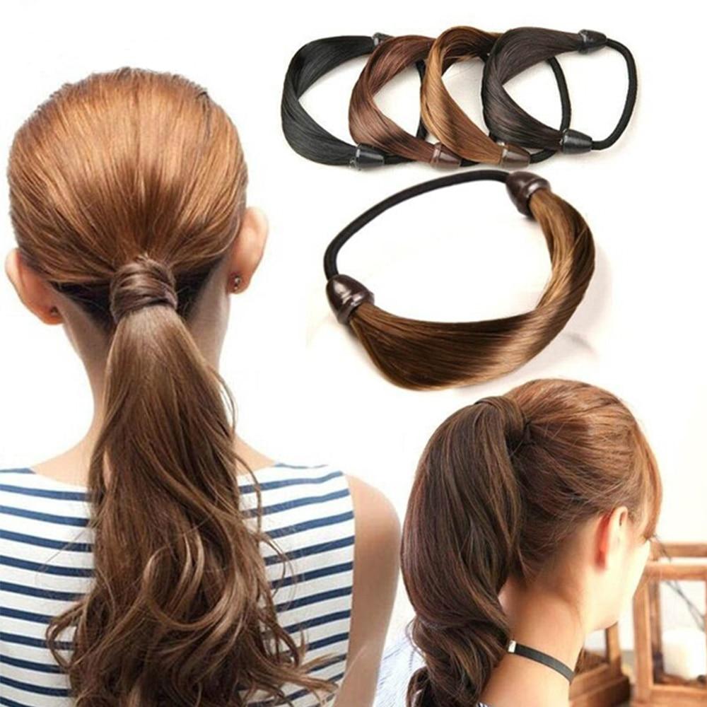 Fashion Women Straight Elastic Hair Bands Black Brwon Hair Rope Scrunchie Ponytail Holder Hair Accessories For Women Girls
