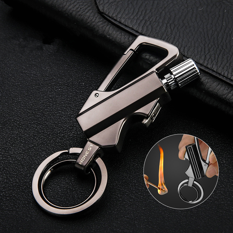New Thousand Matches Waterproof Flint Free Fire Starter Kerosene Lighter Outdoor Survival Tool Keychain Portable Bottle Opener