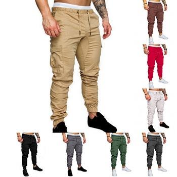2020 spodnie joggery Solid Color mężczyźni bawełniane elastyczne długie bojówki wojskowe cargo legginsy moda tanie i dobre opinie Ołówek spodnie Pełnej długości Mieszkanie REGULAR Poliester COTTON Midweight Suknem NONE Na co dzień Elastyczny pas