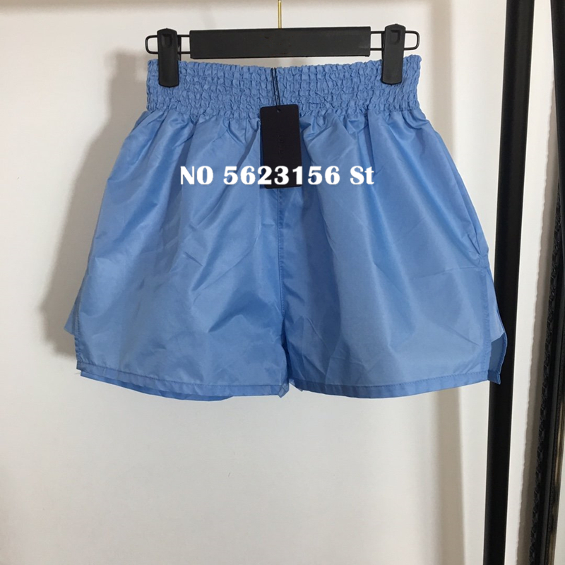 Casual Solid Shorts Luxury Design Letter Triangle Patch Loose Women Blue Shorts High Quality