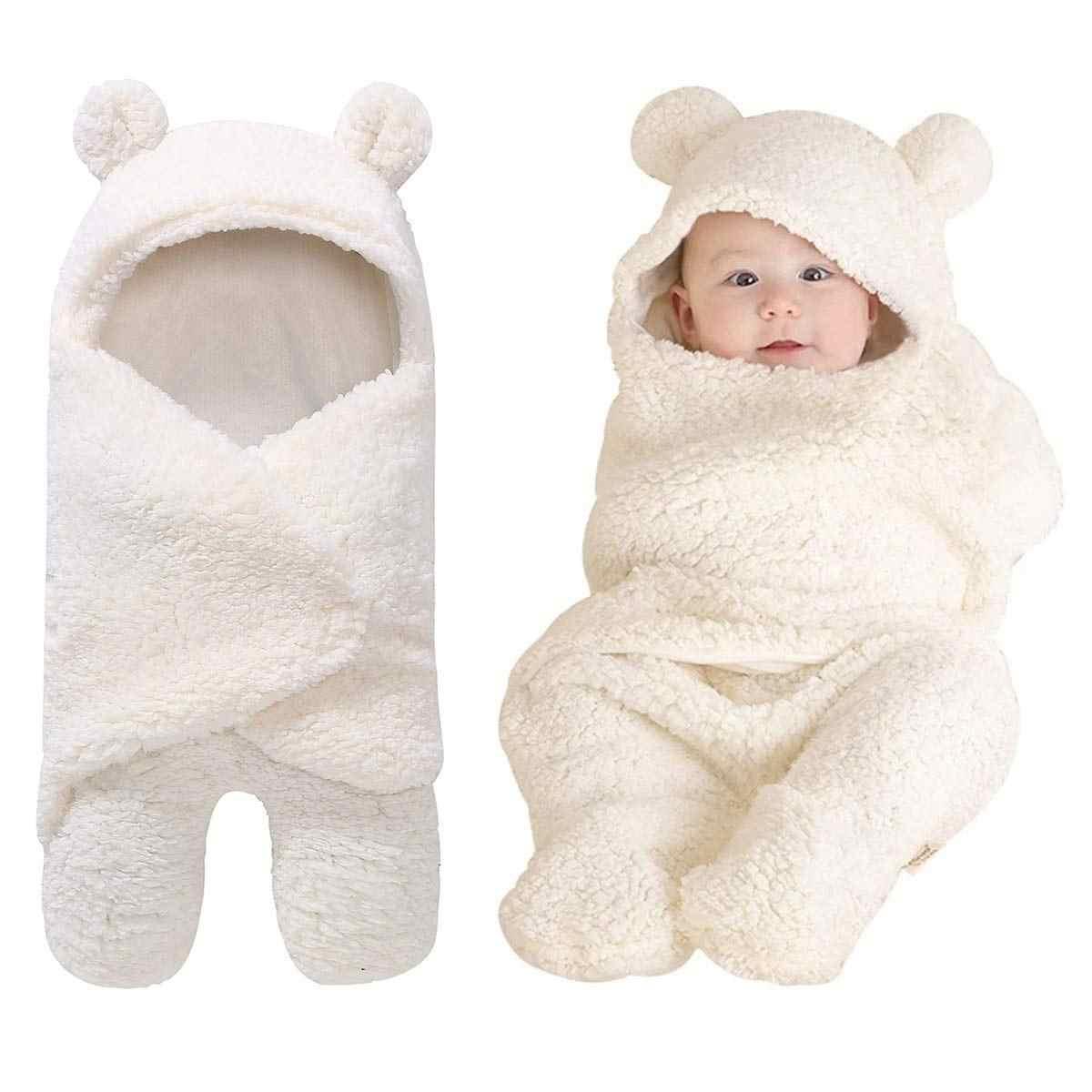 Newborn Baby Cotton Plush Hooded Wrap Blanket Fleece Swaddle Lovely Teddy Bear Sleeping Bag Wrap Clothes Swaddle Sleeping Bag