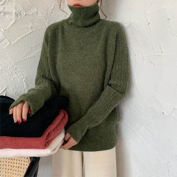 Ailegogo Winter Women Turtleneck Sweater Casual Female Knitted Long Sleeve Loose Pullovers Solid Color Ladies Korean Style Tops 2