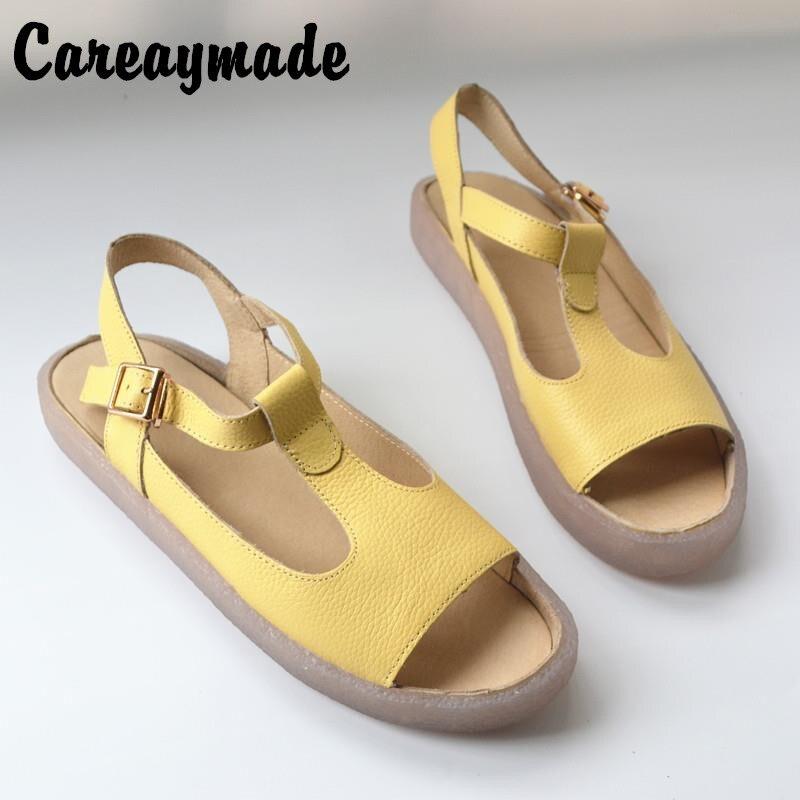 Careaymade-sandales de loisirs pour femmes, 2019 nouveau été poisson bouche loisirs plage chaussures fermoir en cuir véritable chaussures pour femmes