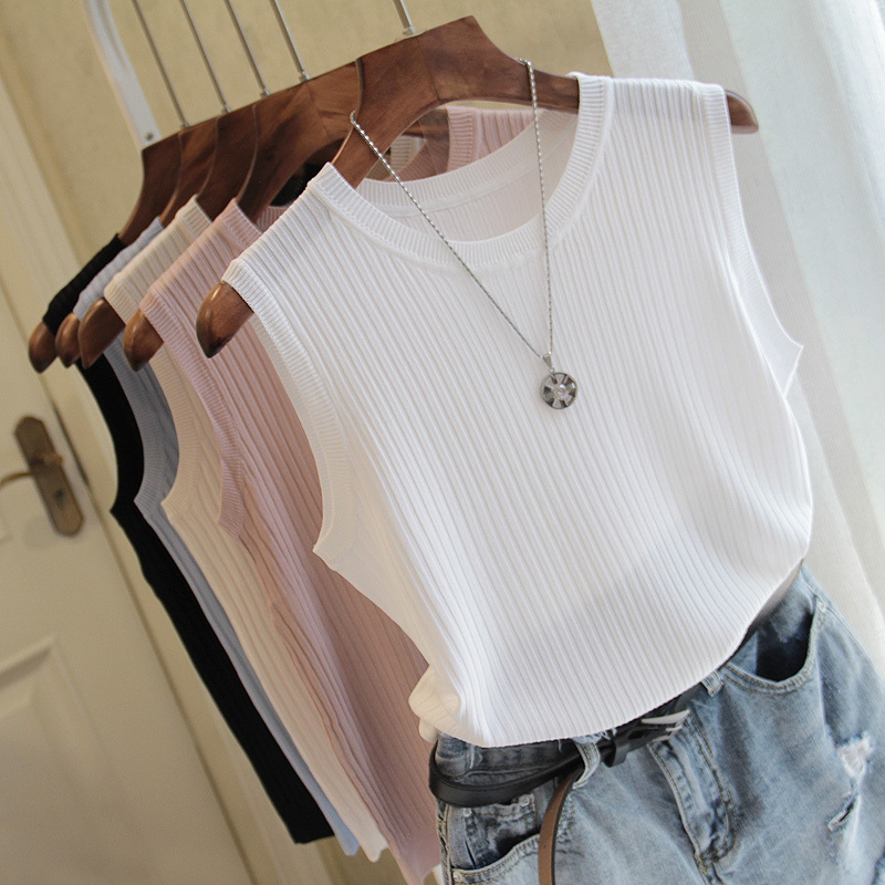 Summer Knitted Vests Women Tops O-neck Solid Tank Female Sleeveless Casual Thin Tops 2020 Knit Woman Shirt Pink White Blue Femme