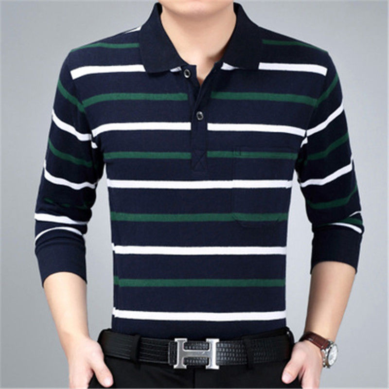 Men's Long Sleeved T-shirt Striped Lapel Large Size 4XL Casual Dad's Bottom Shirt  Striped Loose POLO T-shirts
