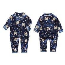 Осенний пижамный комплект для маленьких девочек и мальчиков; комплект одежды для сна с рисунком кота; блузка с длинными рукавами; топ+ штаны; Пижама