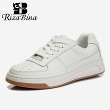 RIZABINA 2021 Ins Women Sneakers Real Leather Fashion Flats Shoes Woman Cross Strap Casual Daily Spring Lady Footwear Size 35-40 cheap Basic CN(Origin) Spring Autumn Genuine Leather Cow Leather Round Toe Concise Rubber Lace-up Fits true to size take your normal size