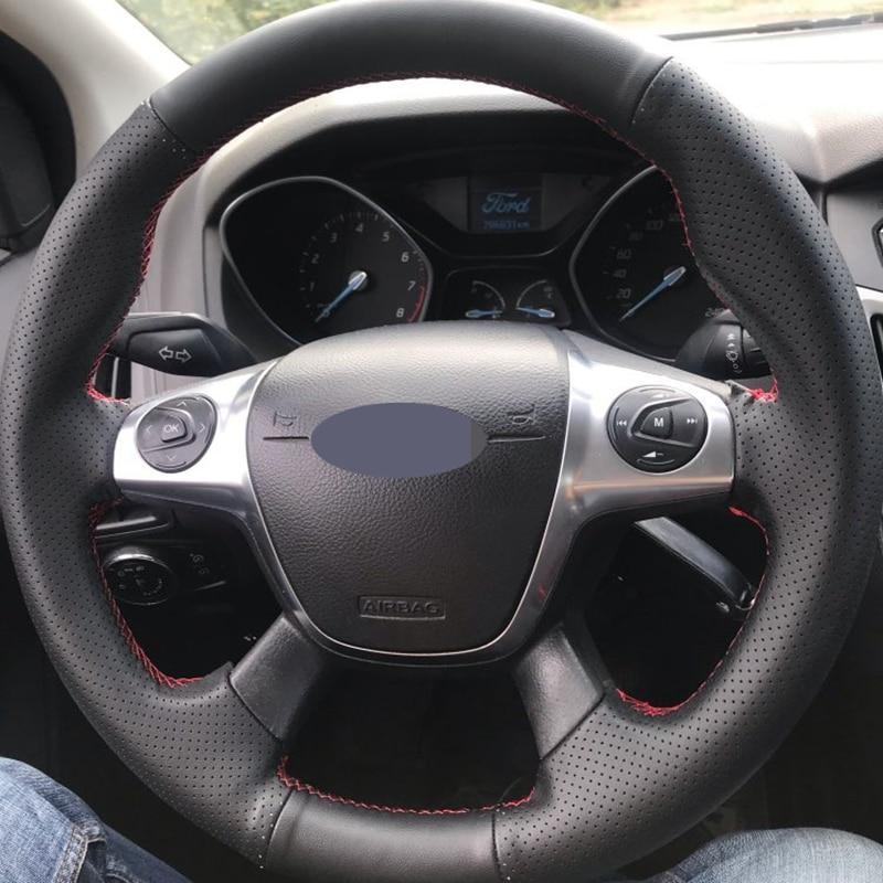Черная мягкая искусственная кожа DIY чехол рулевого колеса автомобиля Ford Focus 3 2012-2014 C-MAX 2011-2014 KUGA Escape 2013-2016