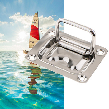 Boat Flush Hatch Locker Cabinet Lift Pull Handle 304 Stainless Steel For Marine Yacht RV Camper 76x57mm Boat Accessories Marine sealux removable flag pole marine grade 304 stainless steel flag staff for boat yacht camper rv