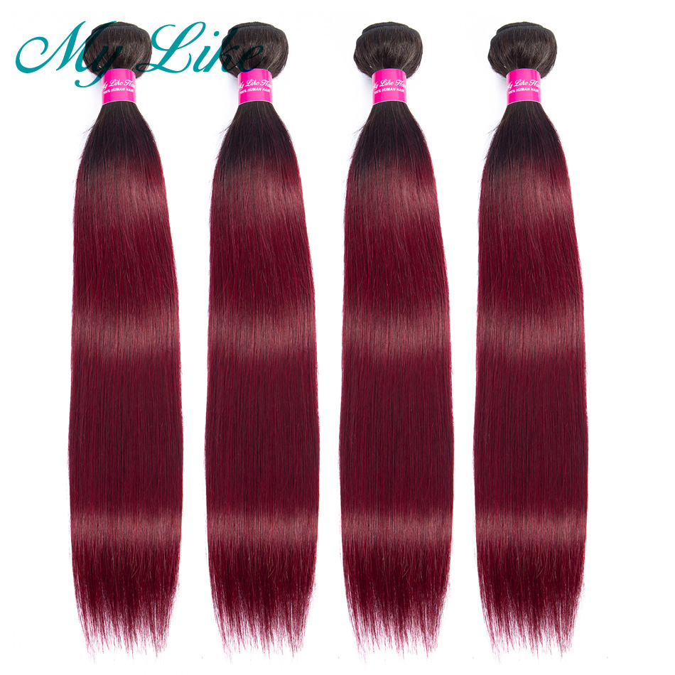My Like Pre-colored Ombre Brazilian Straight Hair Weave 1/4 Bundles 1b/99j 2 Tone Red Burgundy Non-remy Ombre Human Hair Bundles