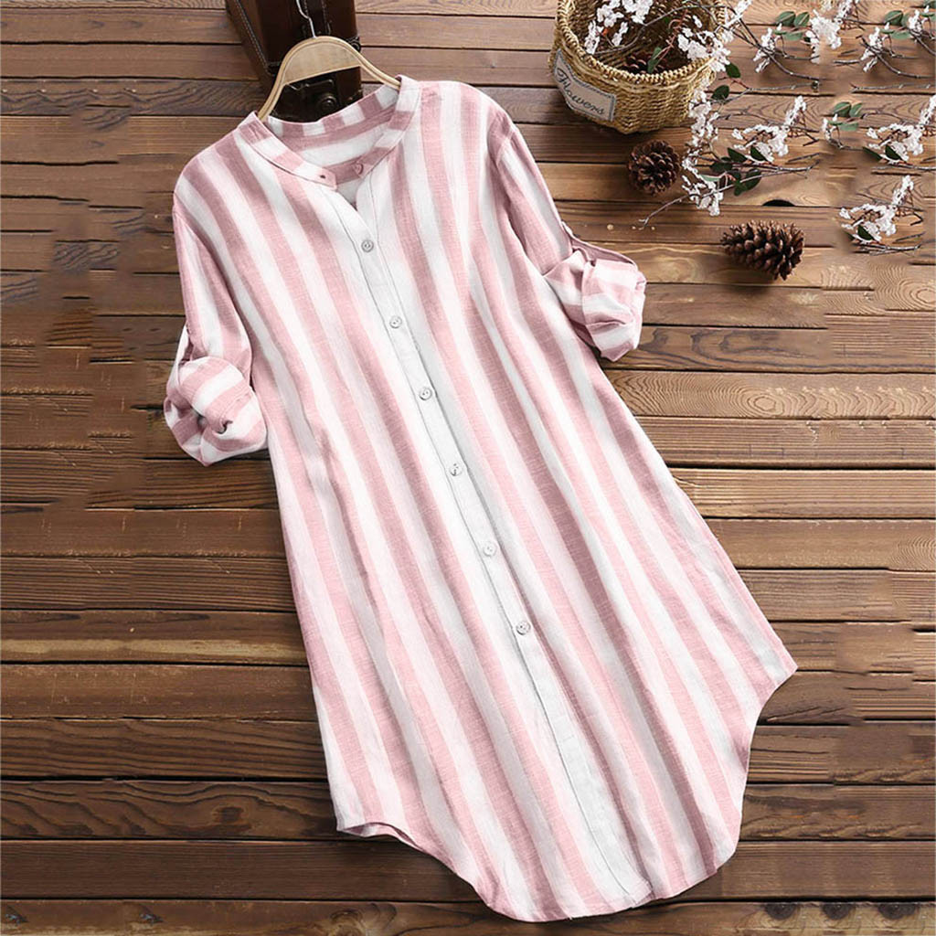 Cotton Striped Blouse Women Pullover Top Plus Size Tunic Blouse Button Down Shirt For Women Blusen Damen Blouses Woman 2020 Women Women's Blouses Women's Clothings cb5feb1b7314637725a2e7: black|Blue|Khaki|Pink