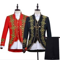 3 Piece Set Men Steampunk Prince Costume Male Military Jacket+Vest+Pants Suits Sets Cosplay Outfit For Men Black Red Plus Size