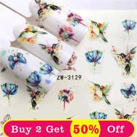 ZKO 1 feuille ongles autocollants transfert d'eau autocollant papillon/Lotus conçoit Nail Art curseur manucure décoration