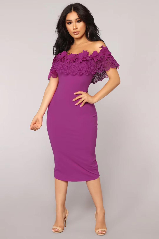 Femmes Sexy mode hors de l'épaule dentelle violet noir rayonne robe de pansement 2020 soirée célébrité robe de soirée Vestido