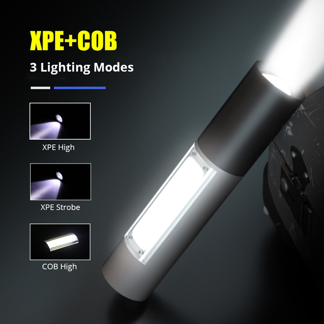 Portable LED Flashlight Mini USB Rechargeable COB Torch Super Bright 3 Modes Zoomable Outdoor Camping Light Waterproof Work Lamp