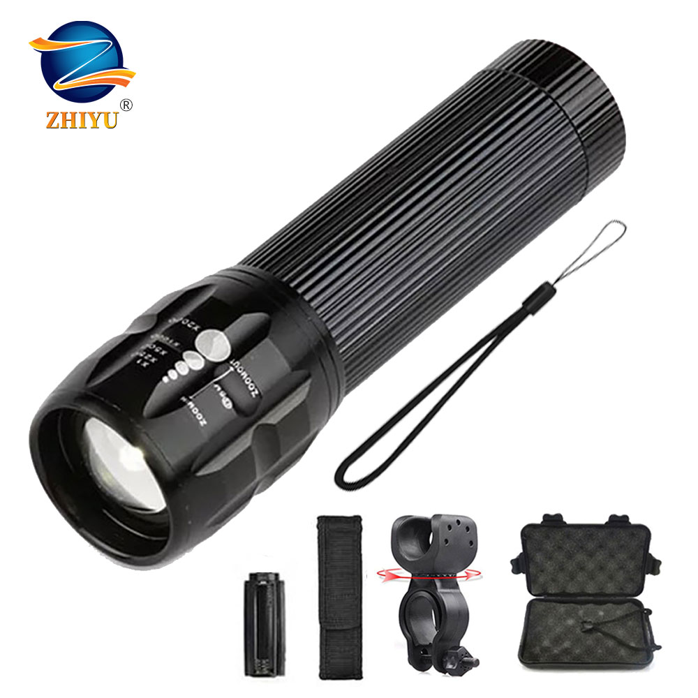 ZHIYU Powerful LED Flashlight Super Bright Torch 3 Switch Mode Zoomable Outdoor Camping Bicycle Light 2000 Lumens Lamp Wholesale