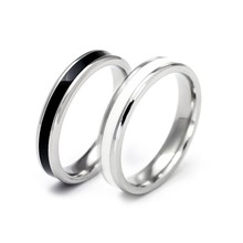 Classic Black White Rings Ceramic Titanium Steel Lovers Simple Finger Rings for Women/men Cubic Wedding Engagement Ring(China)