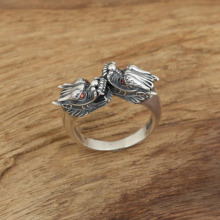 925 Sterling Silver Ring Retro Thai Silver Red Eye Dragon Women Men fine jewelry Adjustable Ring