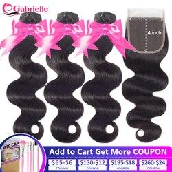 Gabrielle corps vague paquets avec fermeture cheveux humains naturels 3 paquets et fermeture pré-plumés brésiliens Remy Extensions de cheveux