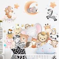 Pegatina de pared de dibujos animados de animales para decoración de habitación de niños, calcomanías extraíbles para decoración del hogar, murales artísticos, bricolaje