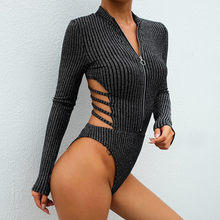 winter jumpsuit Black Long Sleeve Bodysuit Autumn 2019 Elegant Turtleneck Body Femme Sexy Strapless Hollow Out Bodycon Bodysuits(China)