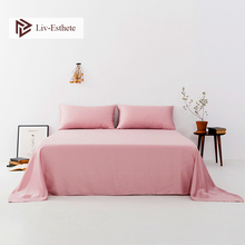 Liv-Esthete 2020 Noble Pink 100% Natural Silk Flat Sheet Silk Healthy Queen King Bed Sheet Pillowcase For Women Men Home Textile