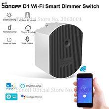Sonoff d1 interruptor inteligente wifi, interruptor para casas inteligentes diy, mini módulo de interruptor, ajustar o brilho app/voz/rm433 controle remoto rf, controle remoto