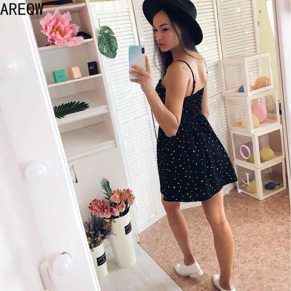 女性のサンドレス新pollkaドット印刷vネックウエストライン黒ドレスミニドレス夏